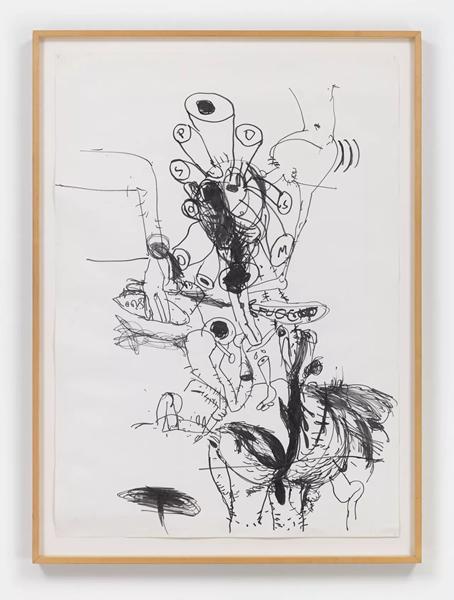 保罗·麦卡锡(Paul McCarthy),《SP SM - FUOC》,1992,毡尖笔 牛皮纸,102 x 73 厘米 / 40 1/8 x 28 3/4 英寸,112 x 82 x 4 厘米 / 44 1/8 x 32 1/4 x 5/8 英寸(带框),图片:豪瑟沃斯