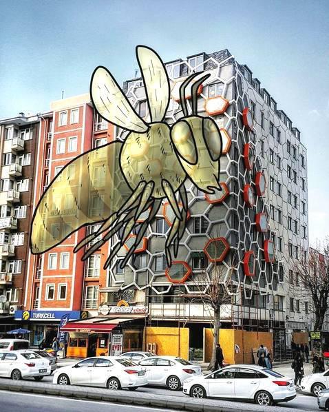 土耳其艺术家给照片添加巨人破旧街区成童话世界