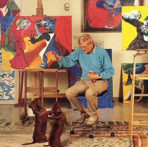 大卫·霍克尼与他的爱犬