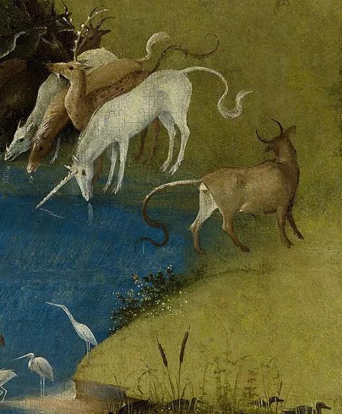 伊甸园中的独角兽。独角兽在中世纪是神圣与贞节的象征。