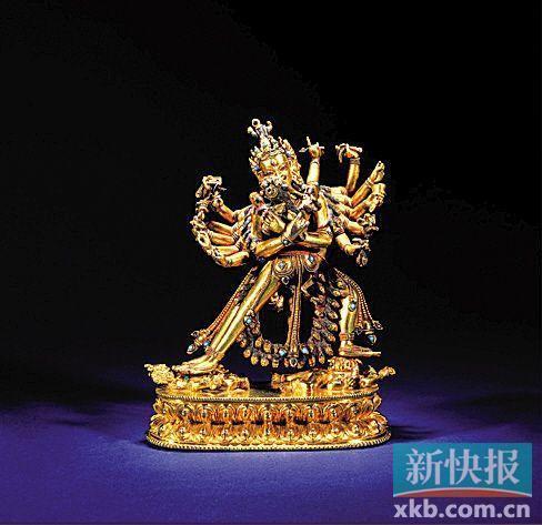 西藏14世纪丹萨替寺铜鎏金胜乐金刚像