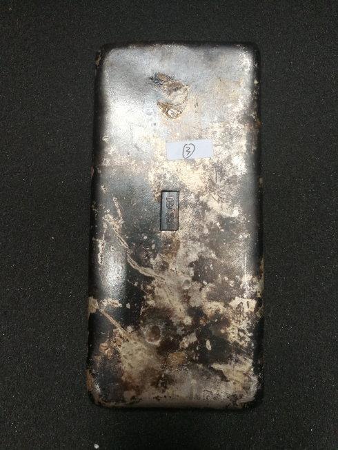 鎏银,经光谱检测为鎏银铜质合金成分含有少量的镍,重750克。