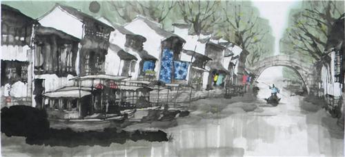 《南浔洪济桥》53×116cm2010年