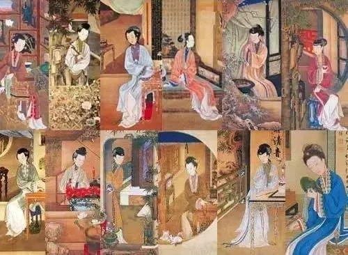 故宫《十二美人图》中的美人都在干什么?故宫博物院推动画《十二美人图》