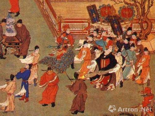 《武后行从图》张萱,长159厘米,宽80.9厘米