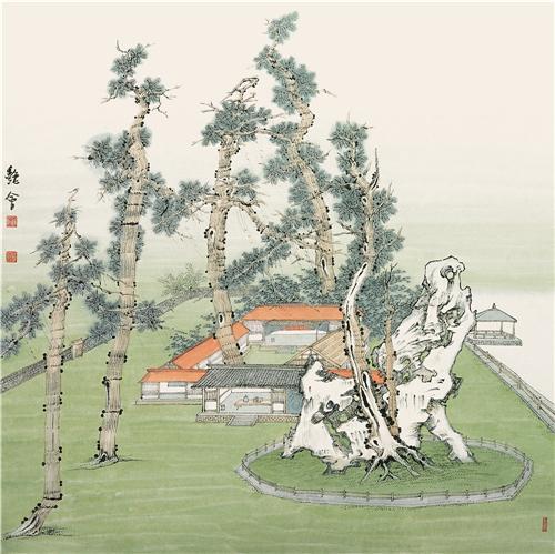 桃花源系列之《春和景明》68cm×68cm