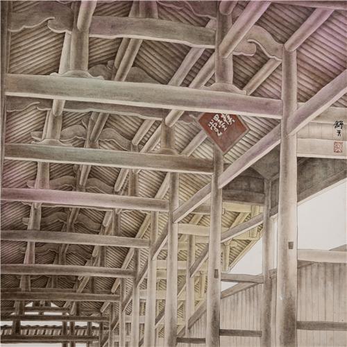 《忆江南·廊桥》68×68cm 2002年