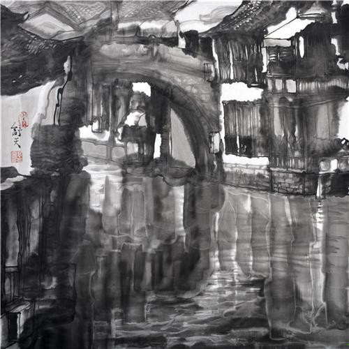 《水墨泰安桥》68×68cm 2012年