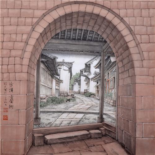 《沙溪寺登街》68×68cm2015年