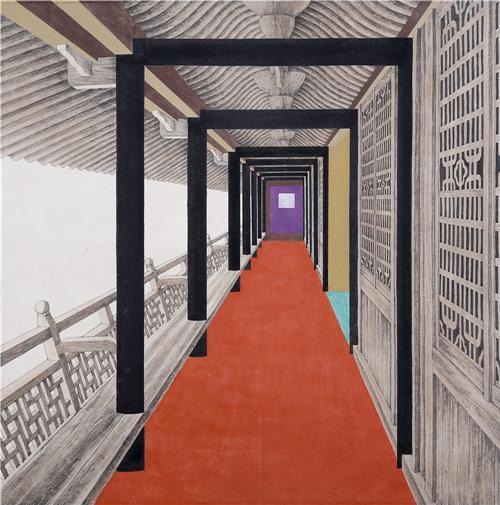 《忆江南·廊》68×68cm 2001年