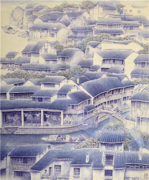 《悠悠水乡情》107×89cm1994年第八届全国美展