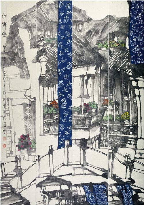 《水乡恋》180×127cm 2013第七届上海美术大展