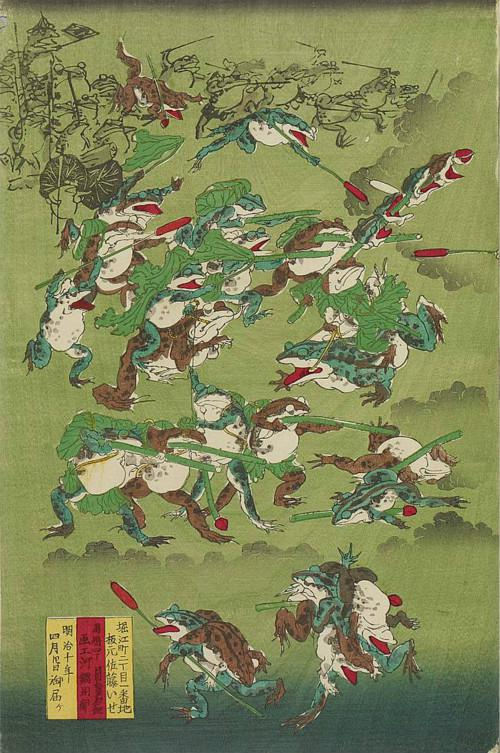 日本浮世绘大师河鍋暁斎创作的蛙蛤合战