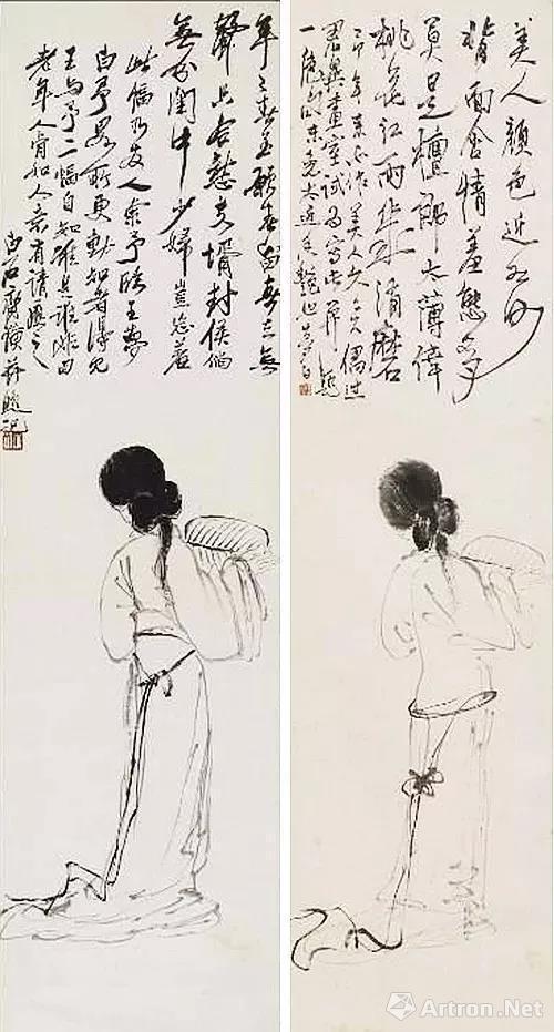 齐白石《仕女图》(左)和王梦白《仕女图》(右)