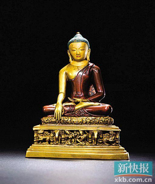 帕拉11世纪双色铜合铸释迦牟尼成道像