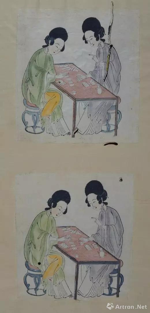 图8 -1《双美玩纸牌》,清雍正,套印加手绘,产地:苏州,德累斯顿国家艺术博物馆版画陈列室(Kupferstich - kabinett, SKD)藏。