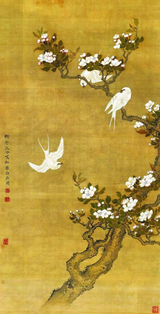图4 沈铨《红梨白燕》