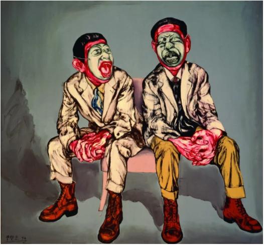 曾梵志,《面具系列之三》,1994,油彩 画布,167 x 180 厘米 / 65 3/4 x 70 4/5 英寸。? 曾梵志,图片:曾梵志,豪瑟沃斯