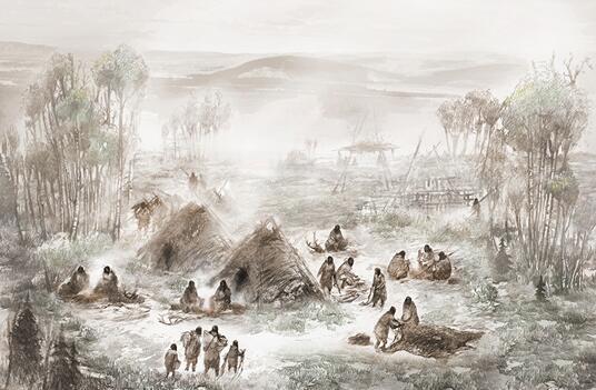 图为上阳河群落(现位于阿拉斯加内部)的科学插图。