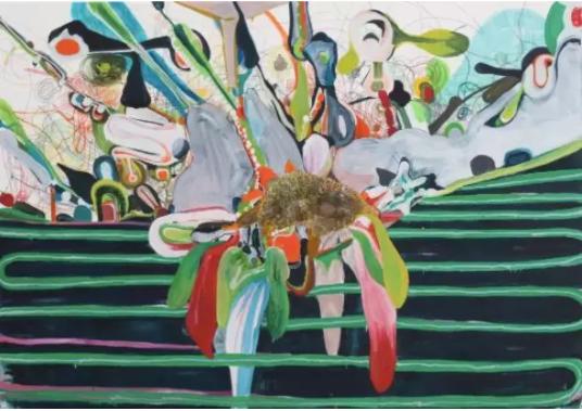 桑蒂·莫什,《肌理》, 2017,布面油彩及铅笔画,175 x 250 cm