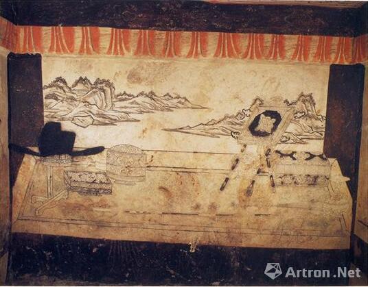 曲阳五代王处直墓东耳室壁画中的镜架形象(《五代王处直墓》,彩版一八)