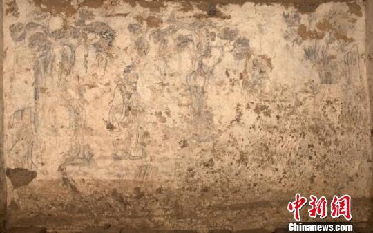 墓室东壁壁画。咸阳市文物考古研究所供图