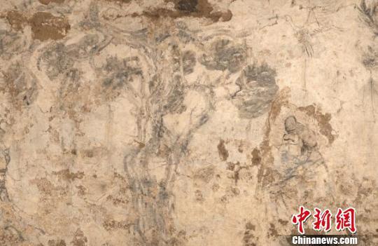 墓室东壁壁画局部。咸阳市文物考古研究所供图