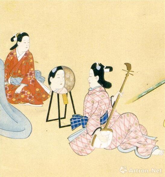 日本泉屋博古馆藏《游女图卷》中的镜架形象(《泉屋博古馆名品选》,115页)