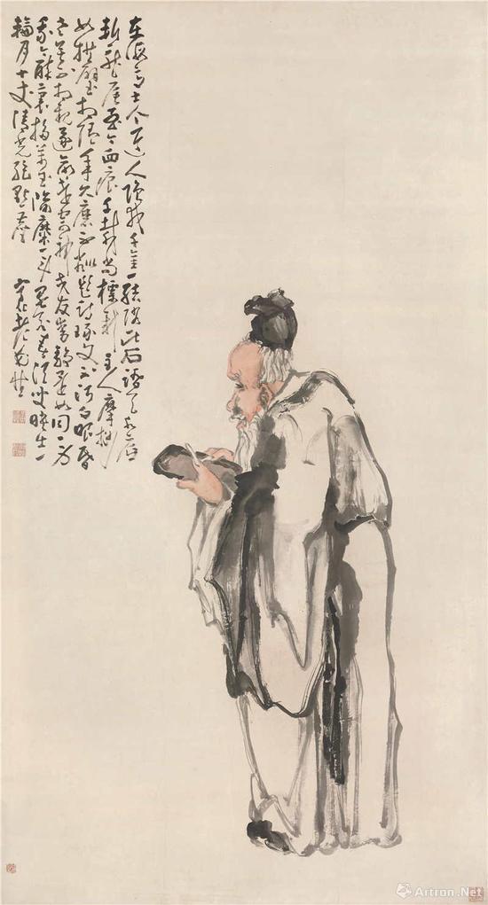 黄慎 玩砚图 立轴 设色纸本 196x105.2cm