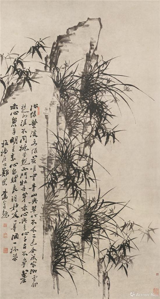 郑燮 《竹石图》轴   纸本水墨   纵 202cm 横 107cm