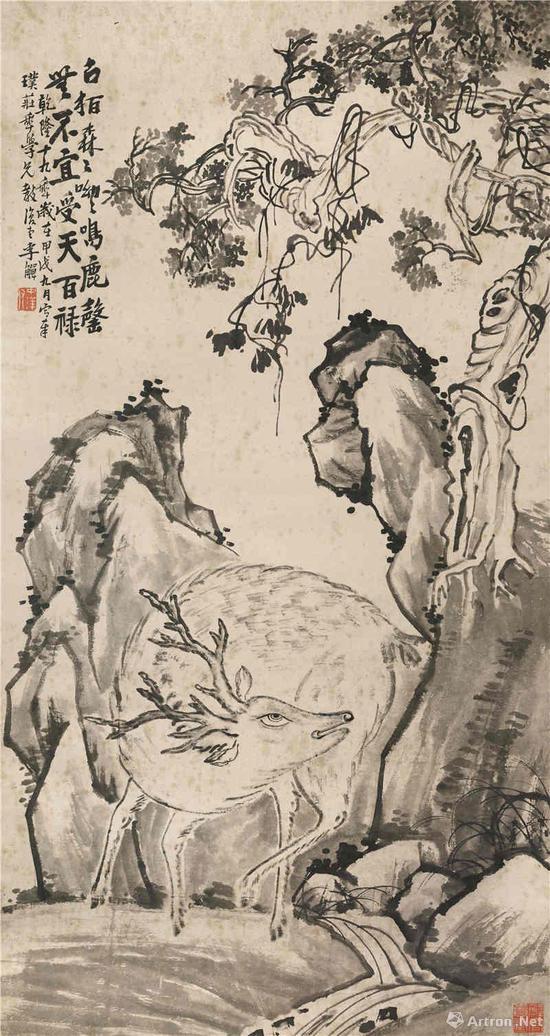 李鱓《古柏鸣鹿图》轴 142×76cm 纸本水墨