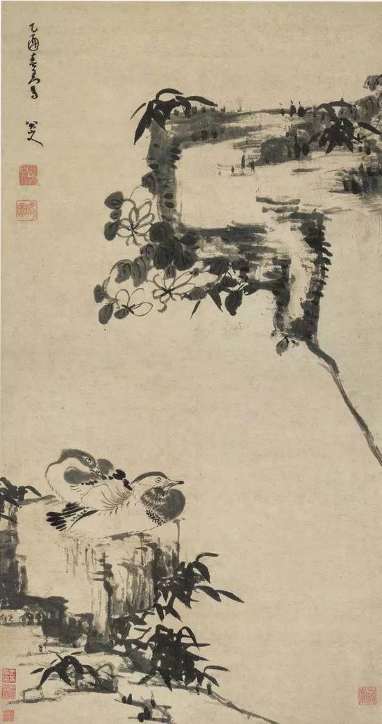 清 八大山人 竹石鸳鸯 立轴 水墨纸本 成交价1.187亿元