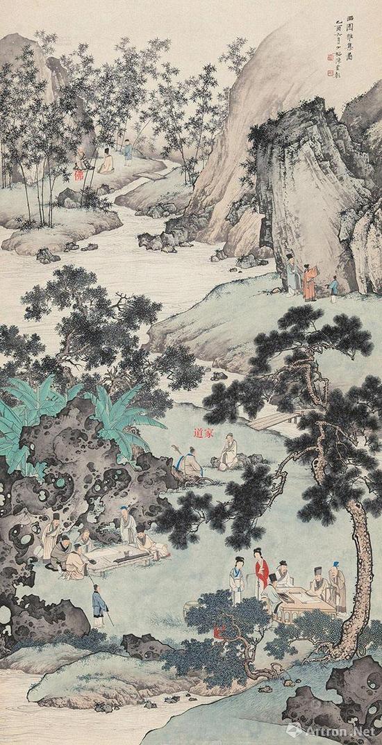 画中赋诗、作画三组代表儒家、弹琴代表了道家,问道代表了佛家,画中蕴含着儒释道的思想和精神,这正是南宗文人画所追求的意境