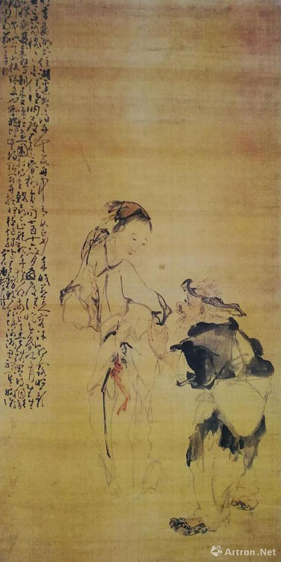 黄慎《渔翁渔妇》轴 绢本设色 120×59.8厘米 辽宁省博物馆藏