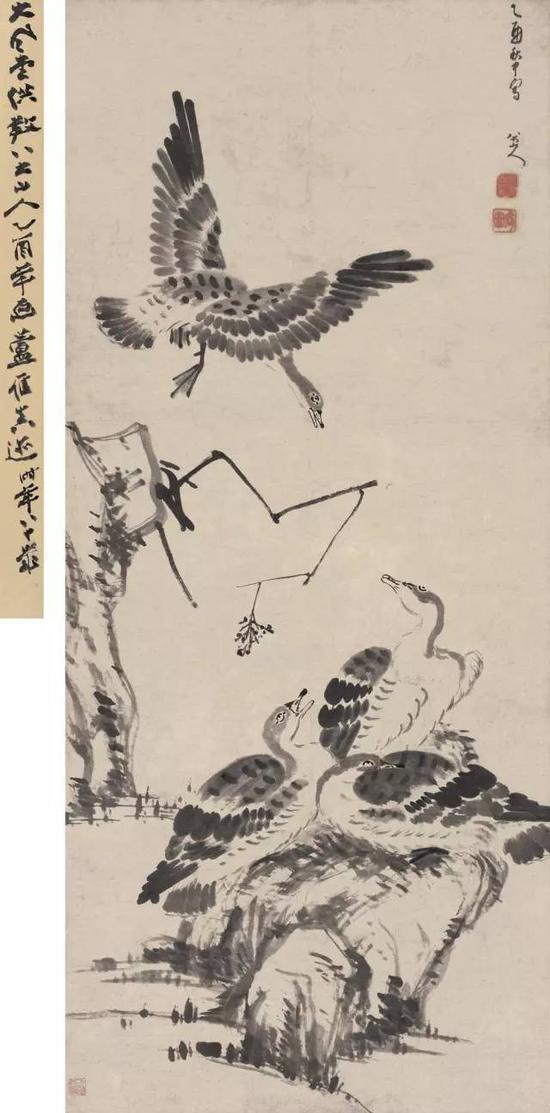清 八大山人 群雁鸣集图 水墨纸本 嘉德2010秋拍 估价4500万元