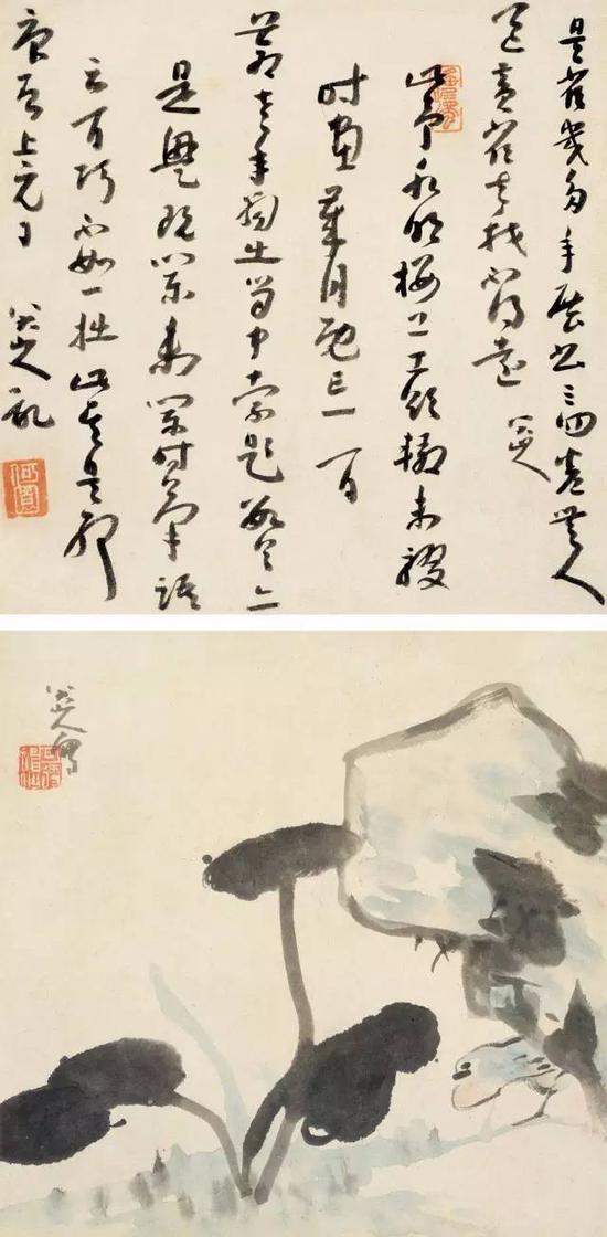 清 八大山人 黄雀图 草书合璧 立轴 纸本 成交价1207.5万元