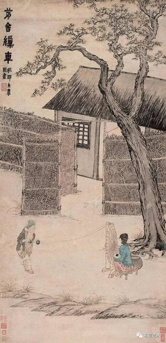 清 金农 茅舍缫车图 匡时2009秋拍 成交价459.2万元