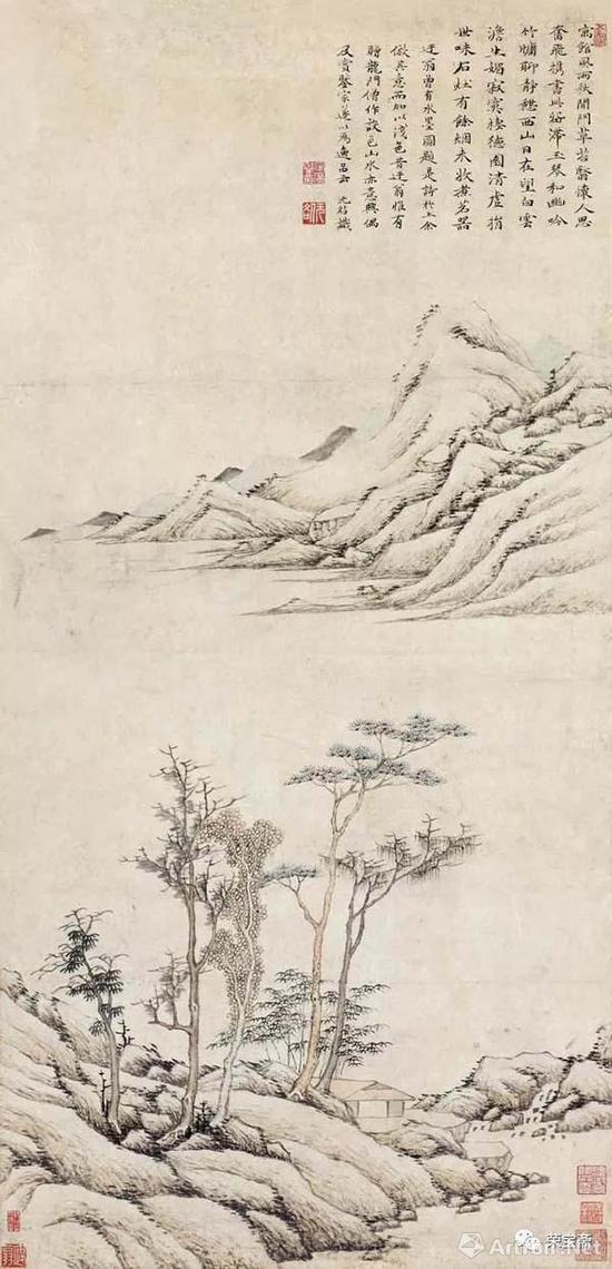 明 安广誉 仿倪瓒山水图 无锡博物院藏