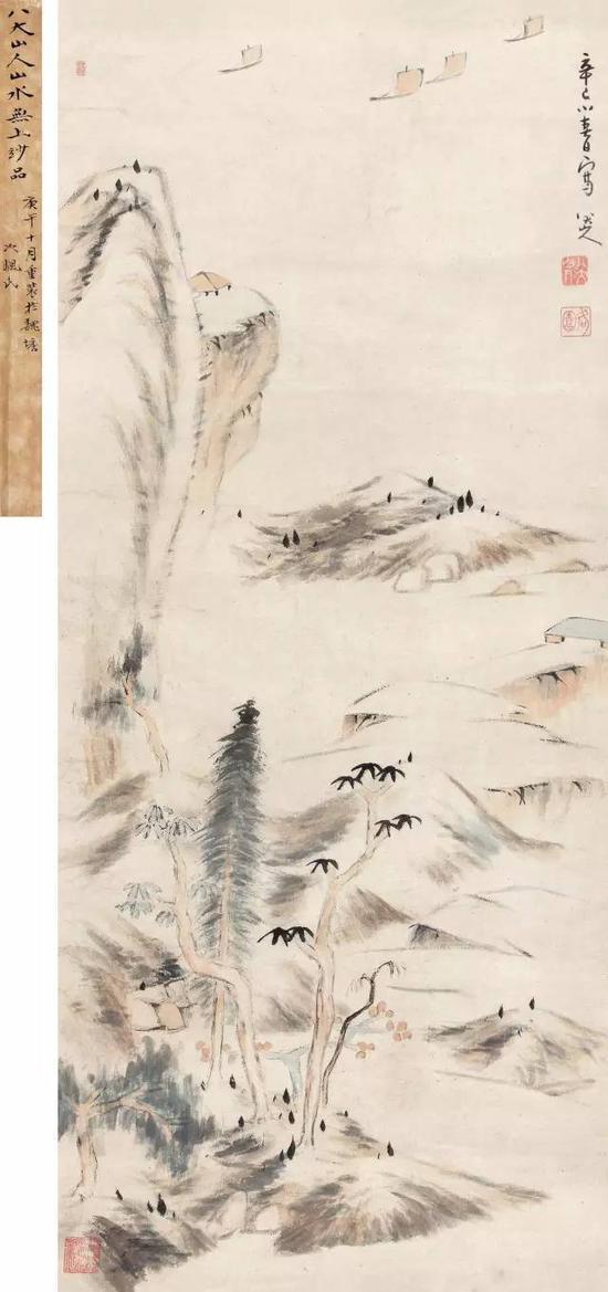 清 八大山人 1701年作 疏林浅滩 立轴 设色纸本 成交价1495万元