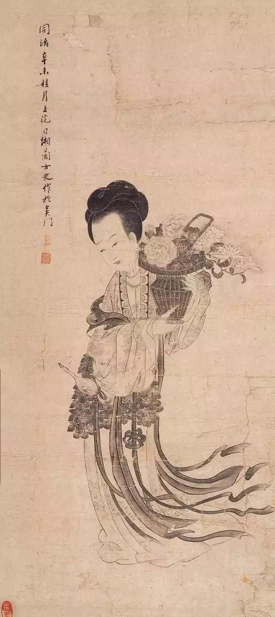 马湘兰《花篮仕女图》