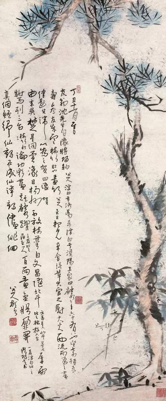 清 八大山人 1697年作 岁寒三友图 立轴 纸本设色 成交价2128万元