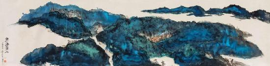 汪海华 东海鳌山 130x30cm 皮纸 2017年