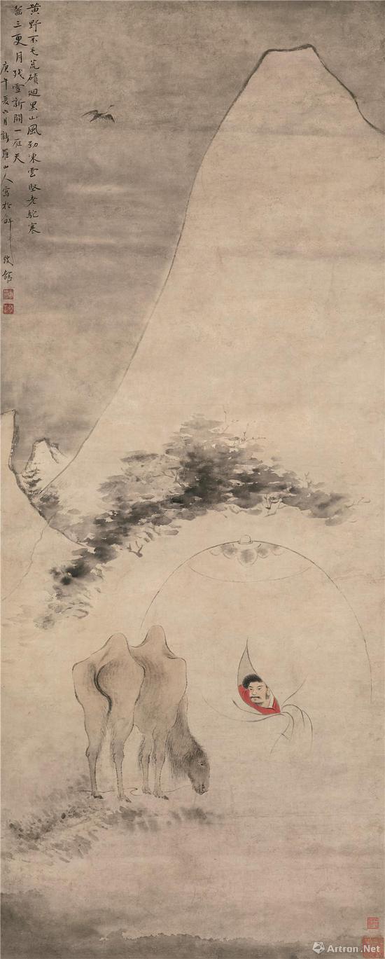 华喦 《雪驼残雪图》轴   纸本设色   纵 128cm 横 50.5cm