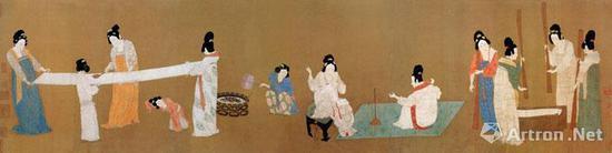 《捣练图》张萱 绢本设色 纵37厘米 横145.3厘米 美国波士顿博物馆