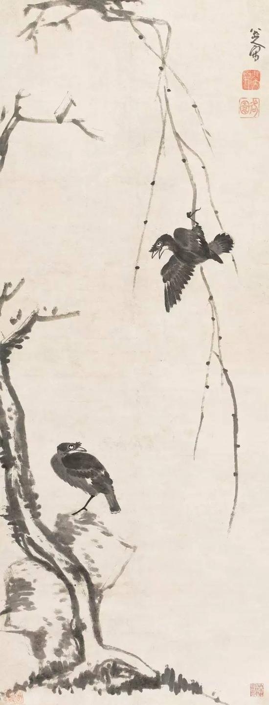 清 八大山人 柳树八哥 立轴 纸本 成交价2464万元