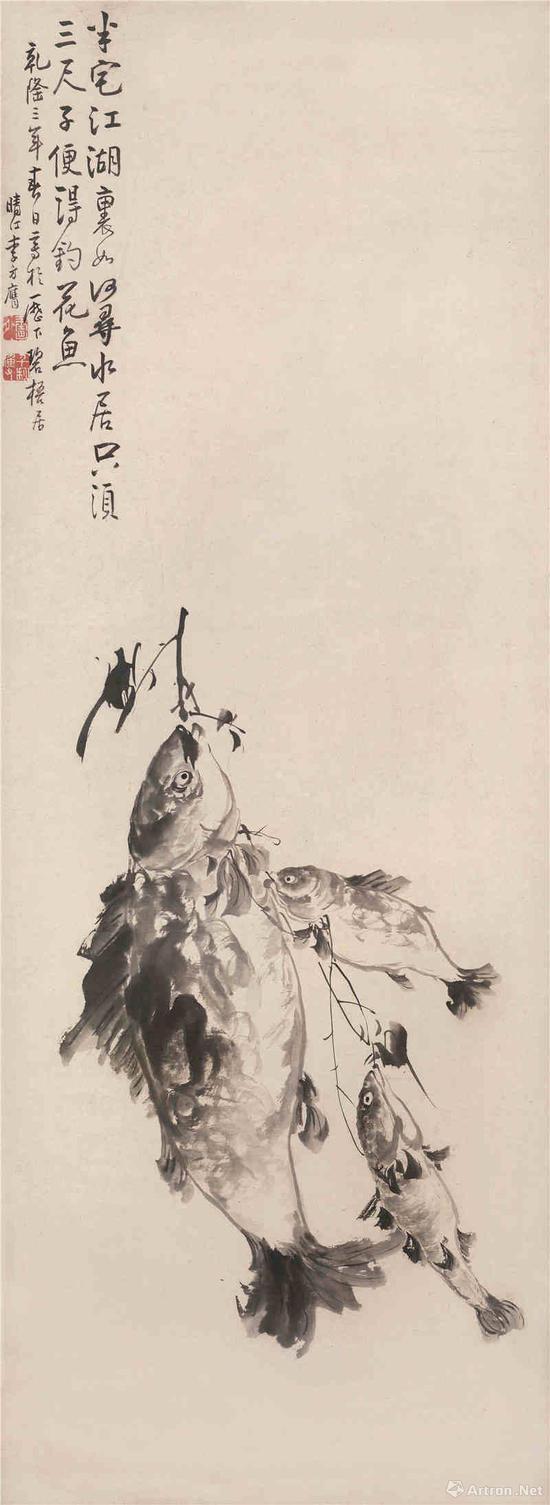 李方膺 三鱼图(局部) 立轴122x45cm 水墨纸本