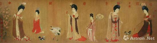 《簪花仕女图》,唐周昉,绢本设色 纵46厘米 横180厘米 辽宁省博物馆藏