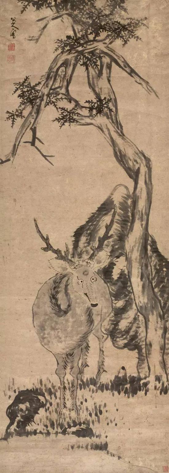 清 八大山人 柏鹿图 立轴 纸本 成交价1881.6万元