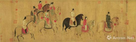 《虢国夫人游春图》纵51.8厘米,横148厘米 辽宁省博物馆