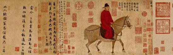 赵孟頫 《人骑图》细节图
